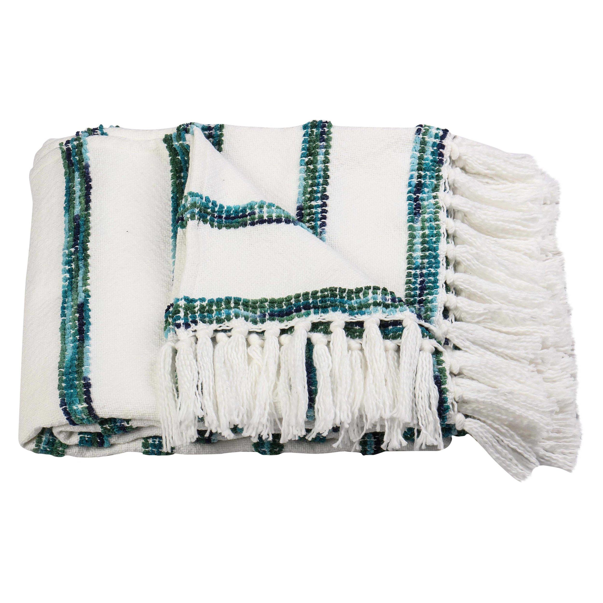 Striped Throw Blanket - White/Blue - Threshold™