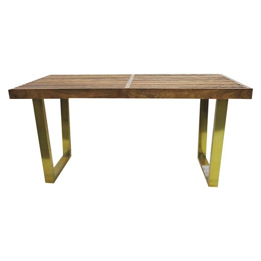 Wood Slat Bench with Gold Legs - Threshold™