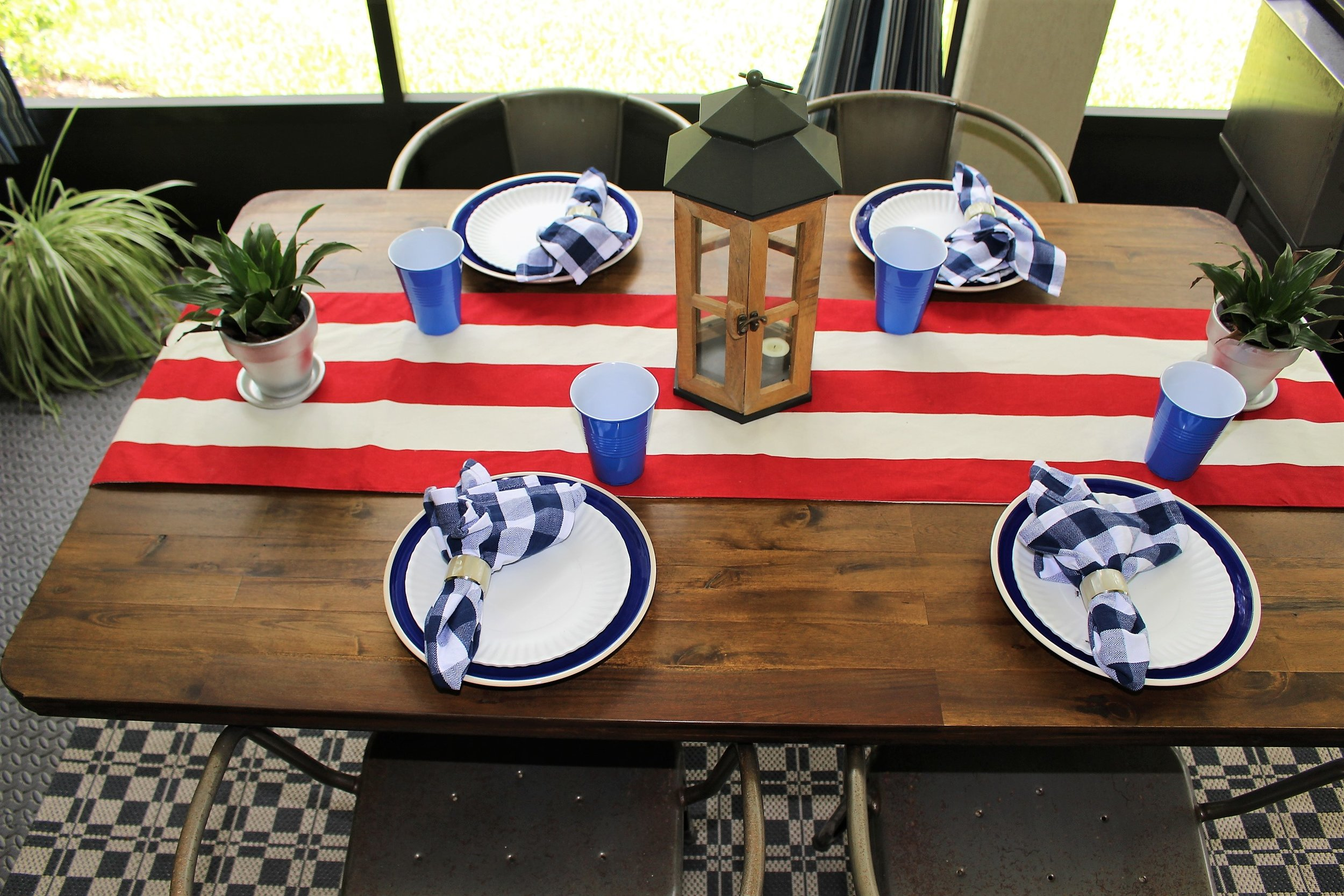 red, white and blue 4th of july tablescape