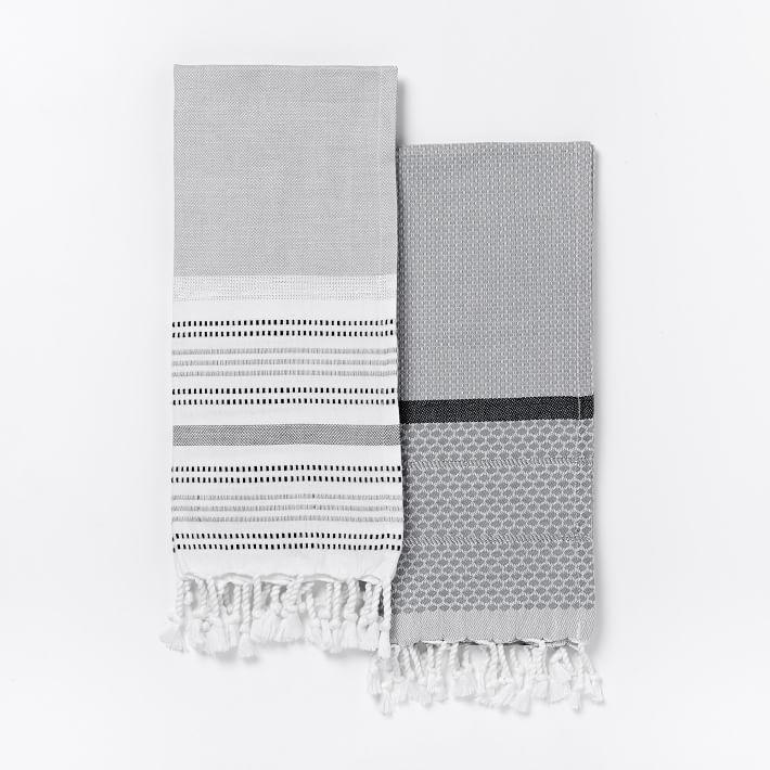 Striped Gem + Border Stripe Hammam Hand Towel Set