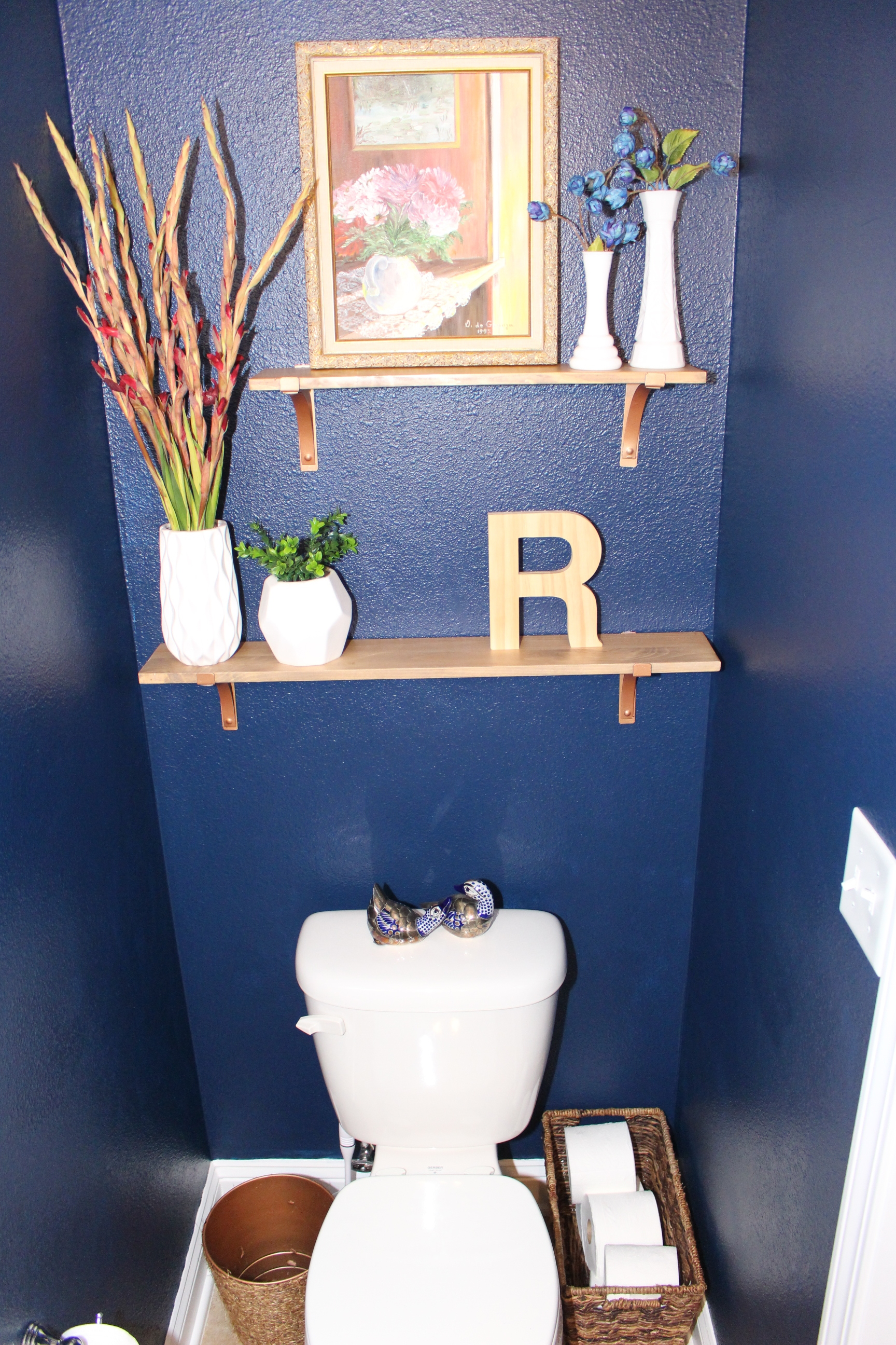 copper accents in bathroom