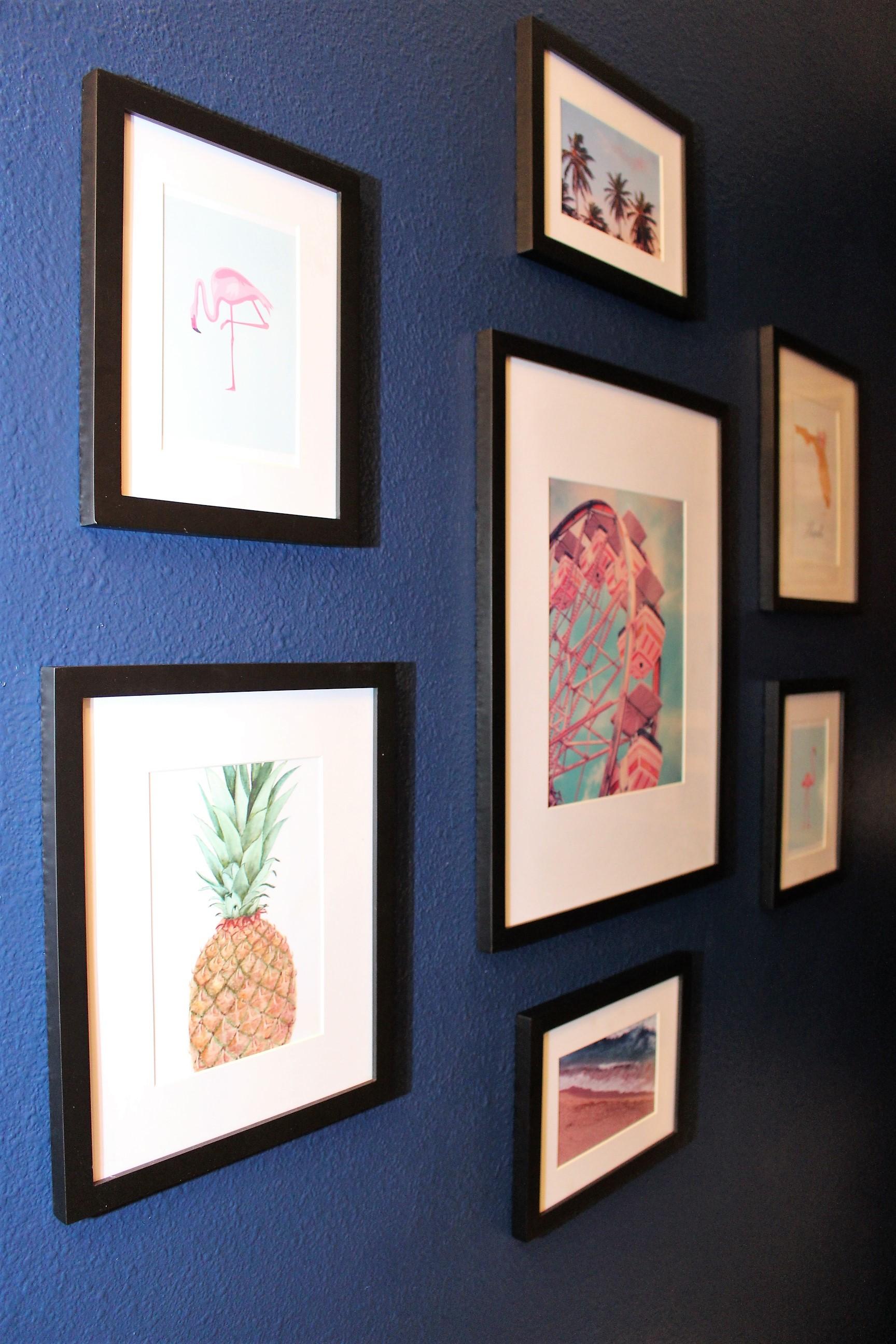powder room gallery wall