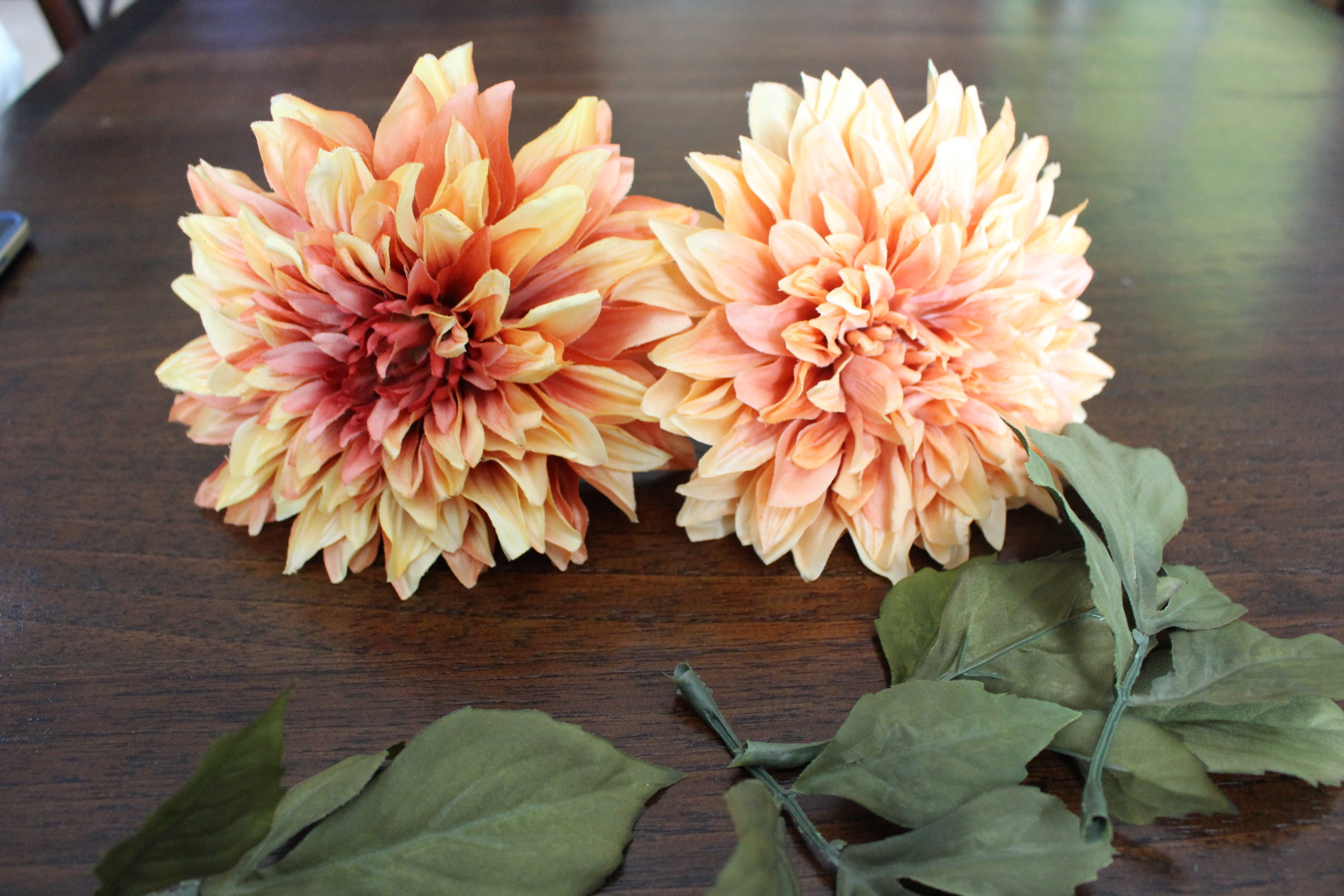 preparing your fake flowers for hoop wreath