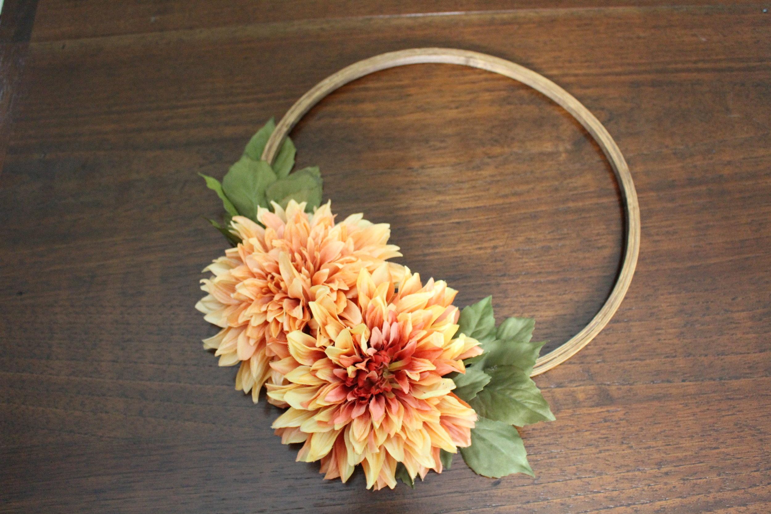hoop wreath for fall DIY