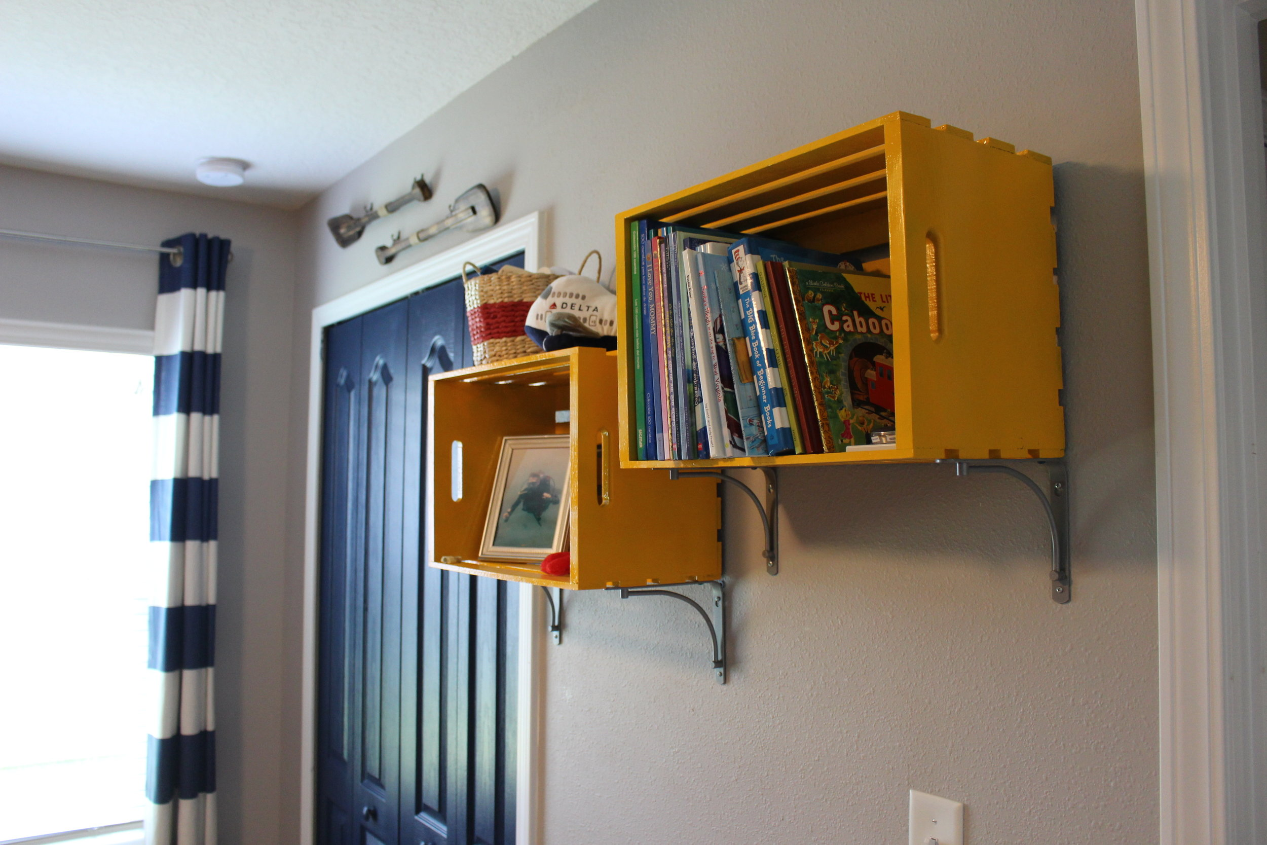 Wood crates as shelves