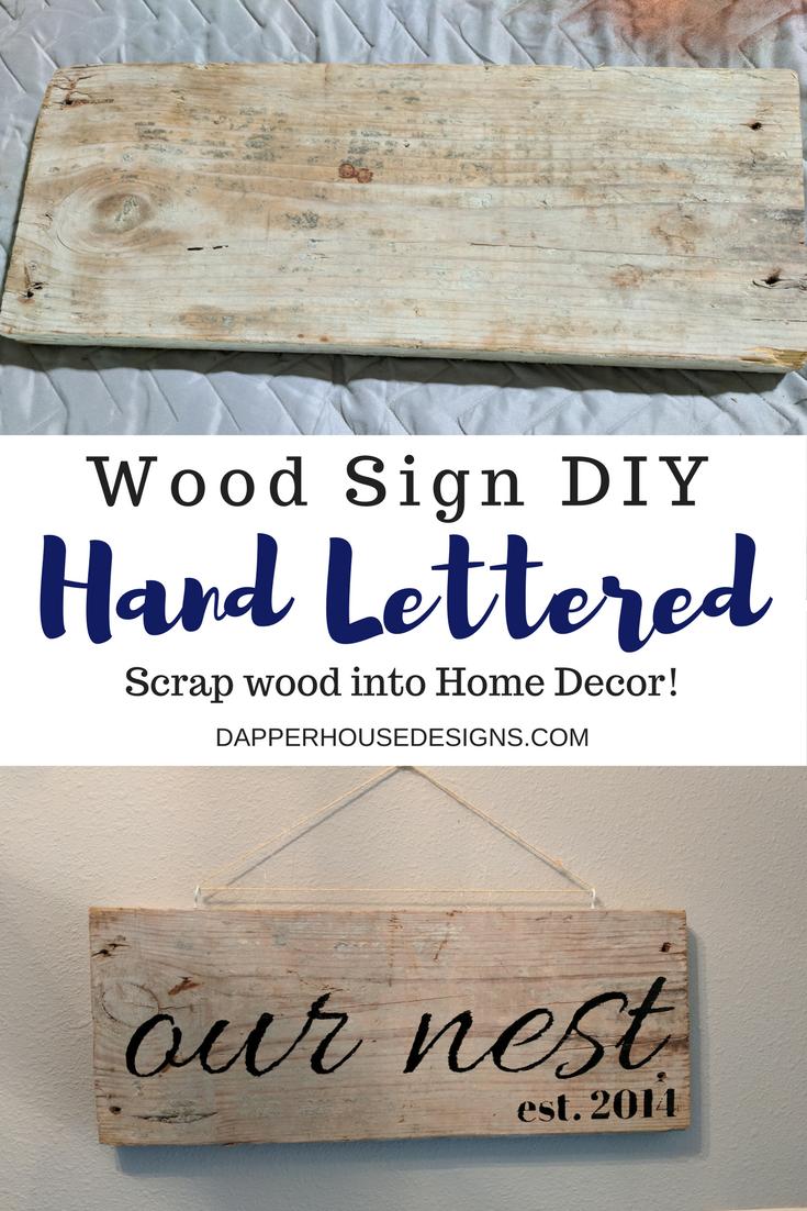 hand lettered wood sign DIY