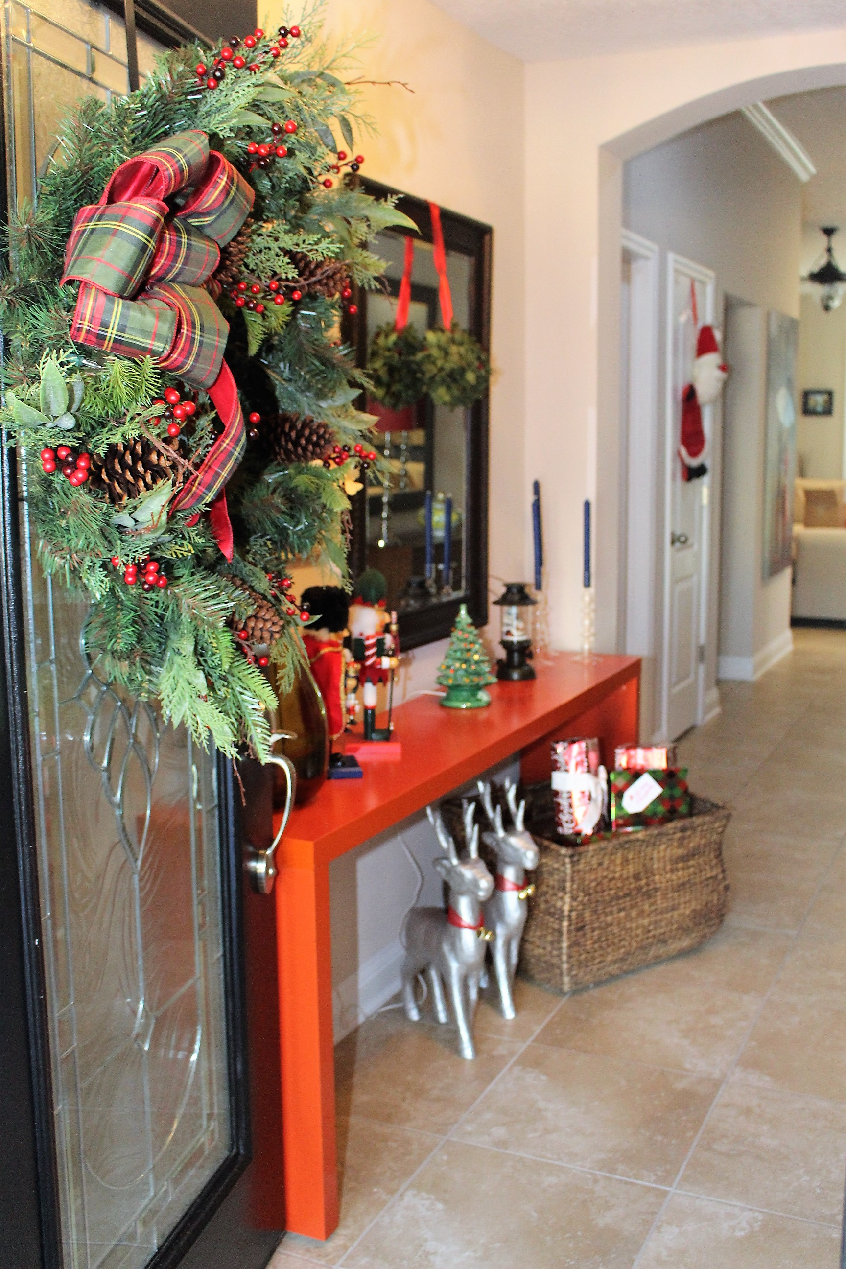 Entryway decorated for Christmas