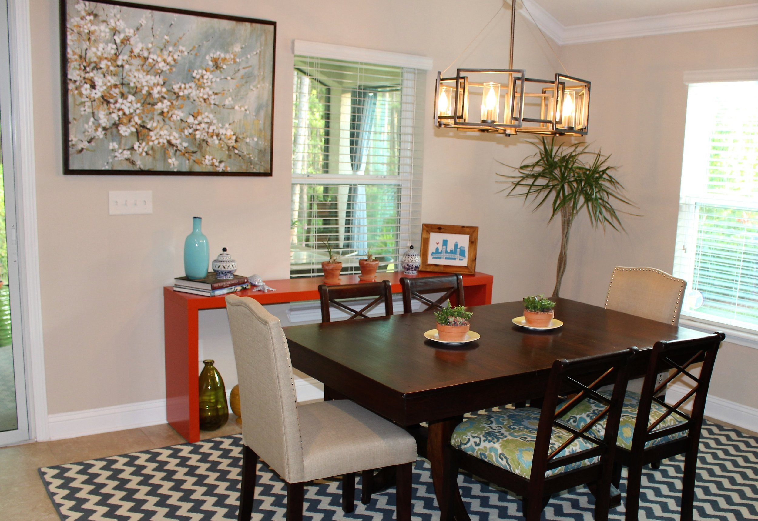 BEFORE - malm desk in dining room