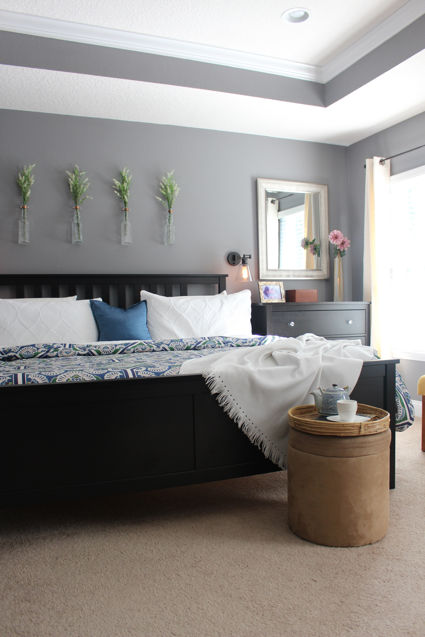 Creating a cozy bedroom with color.