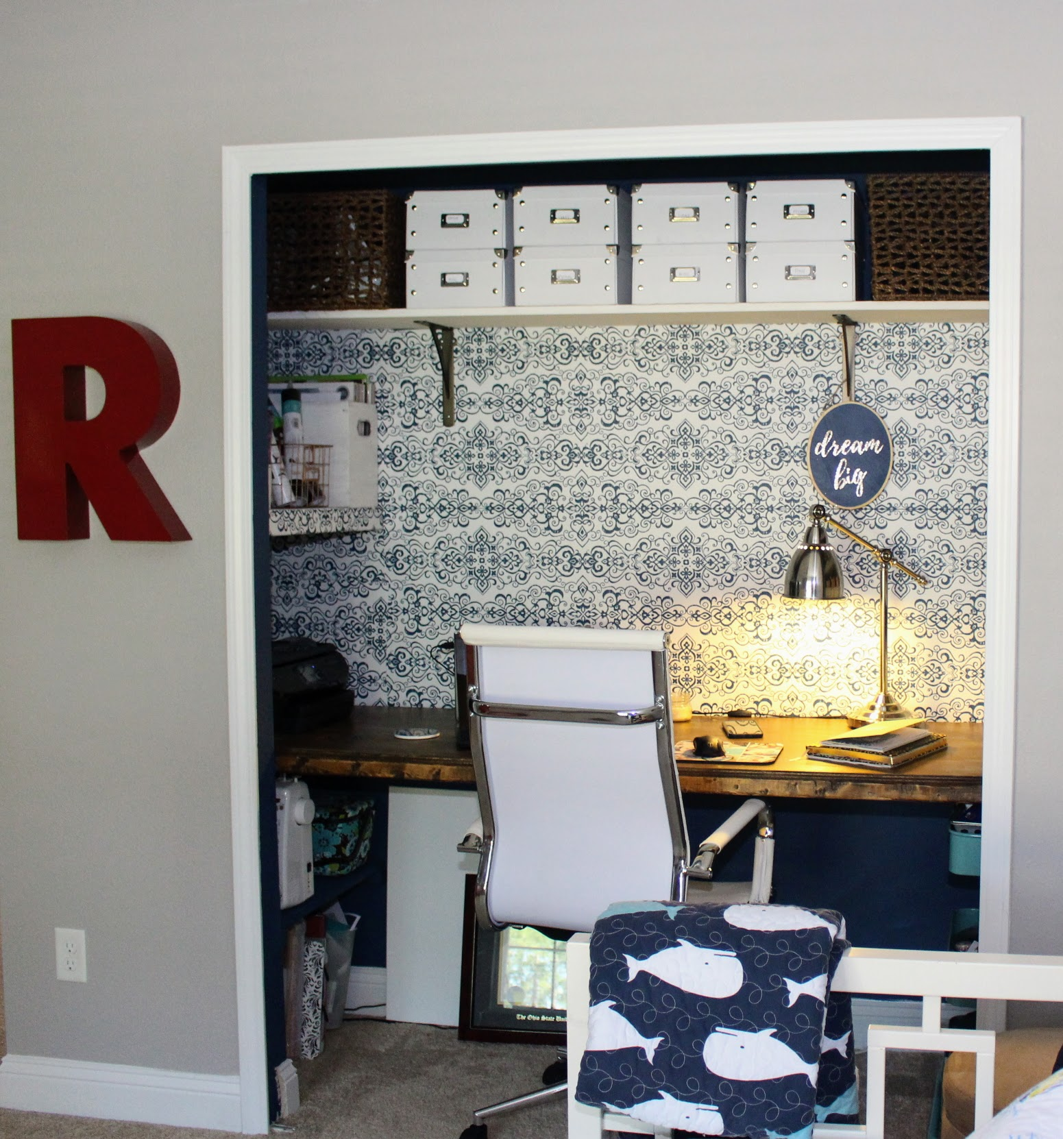 Closet Office -  Read about how I finished this space with just $100!