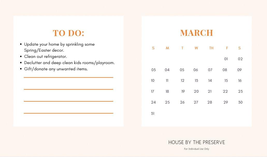 Home Organization Calendar