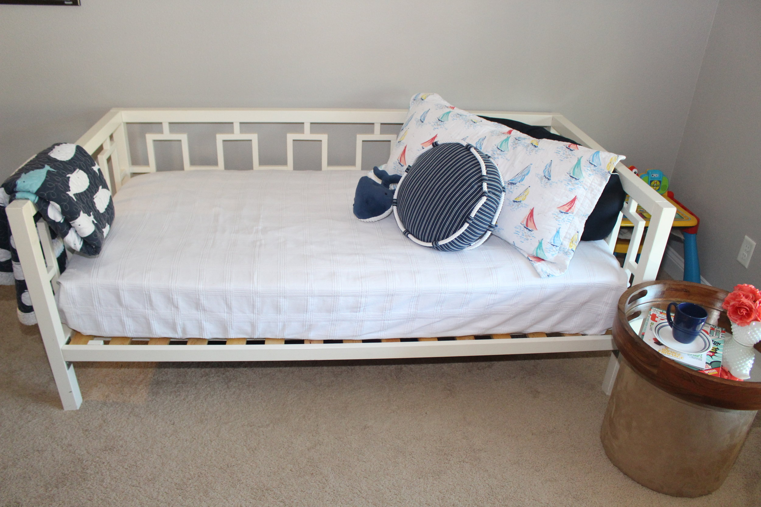 guest bed as a couch in playroom