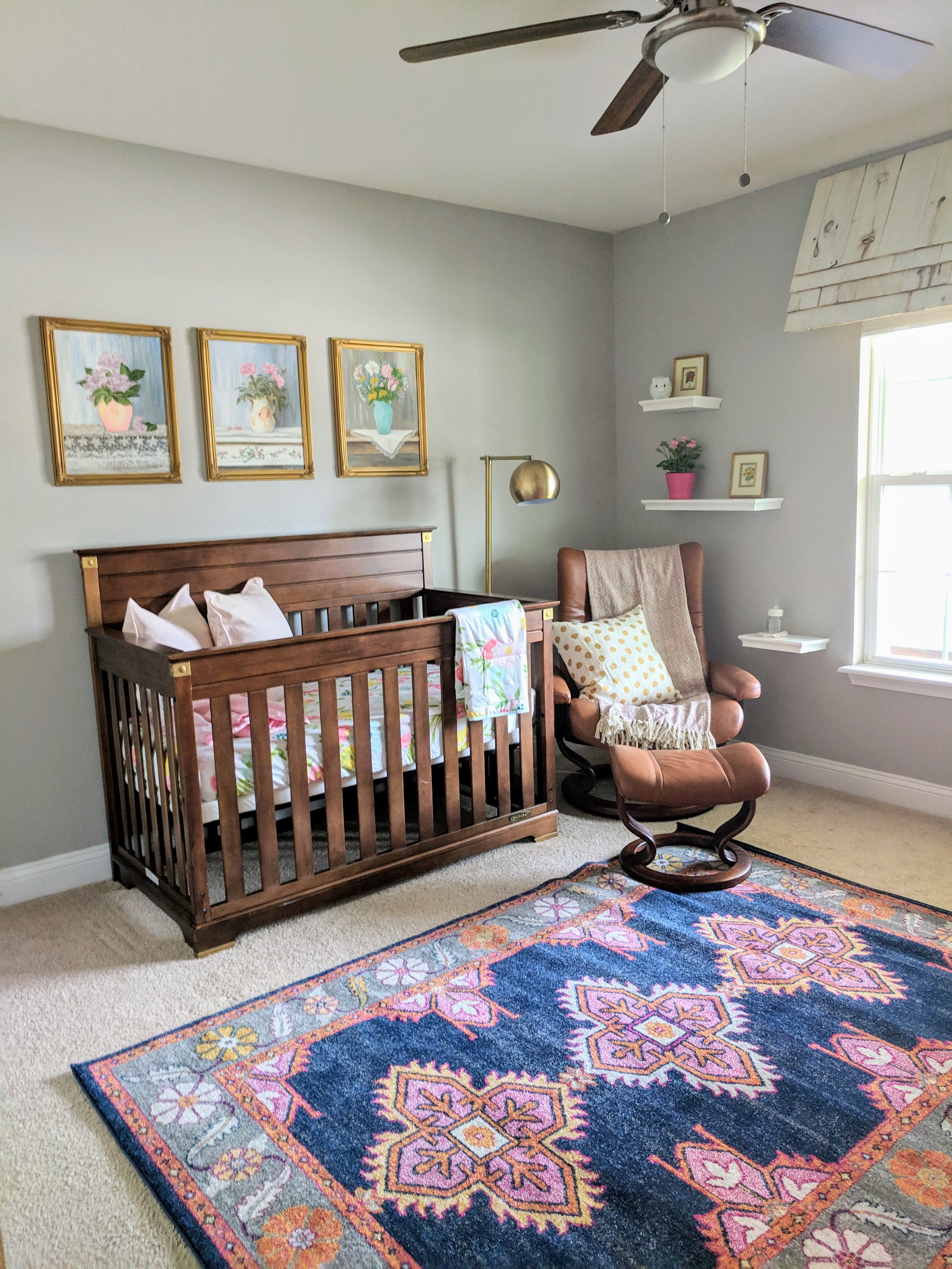 Navy and coral baby girl nursery