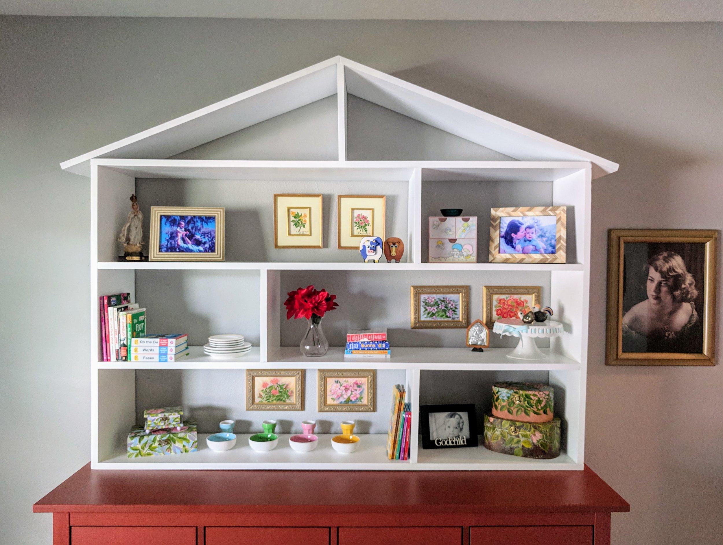 playhouse shelves in nursery