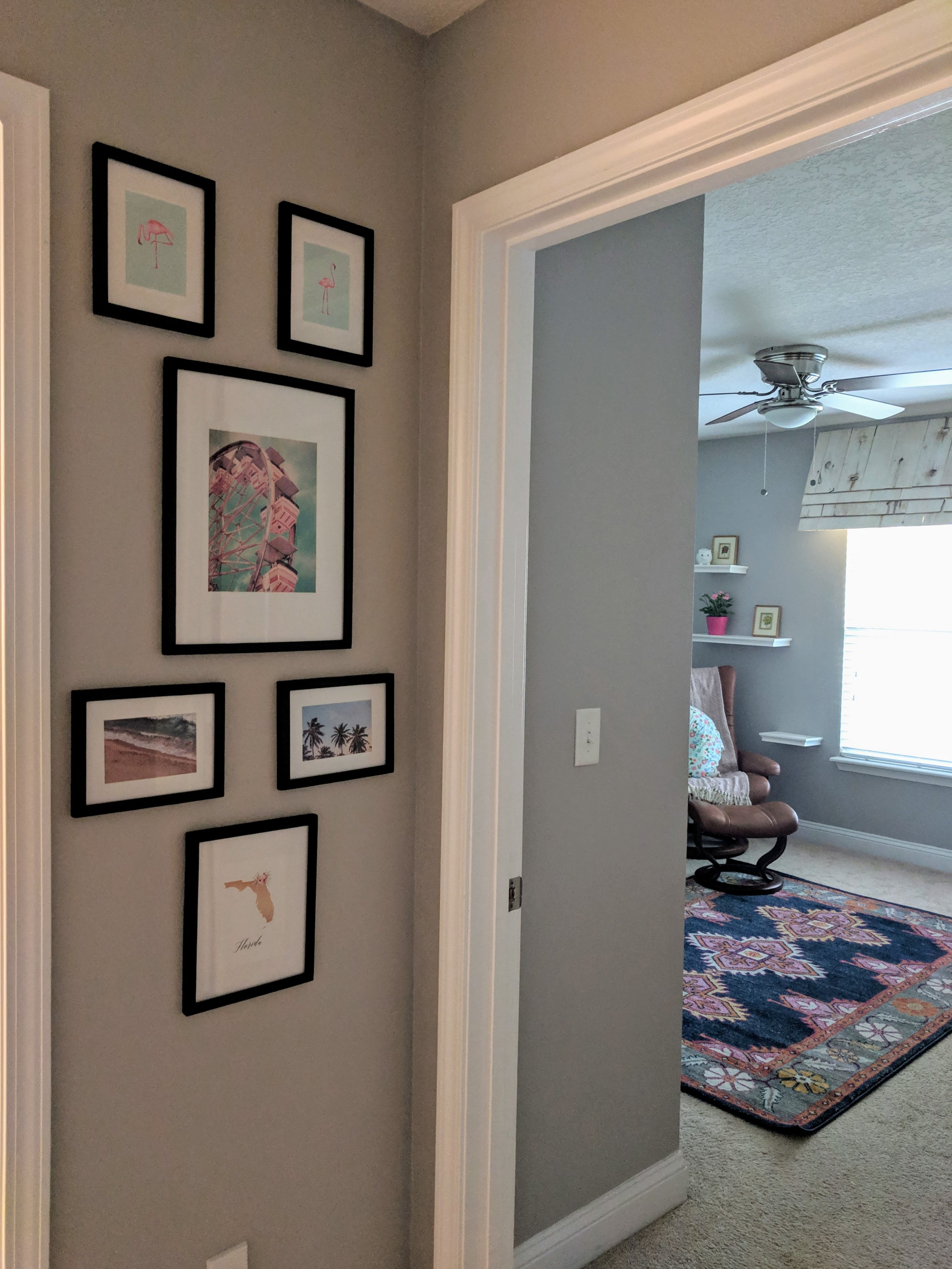 Hallway gallery wall with free printables