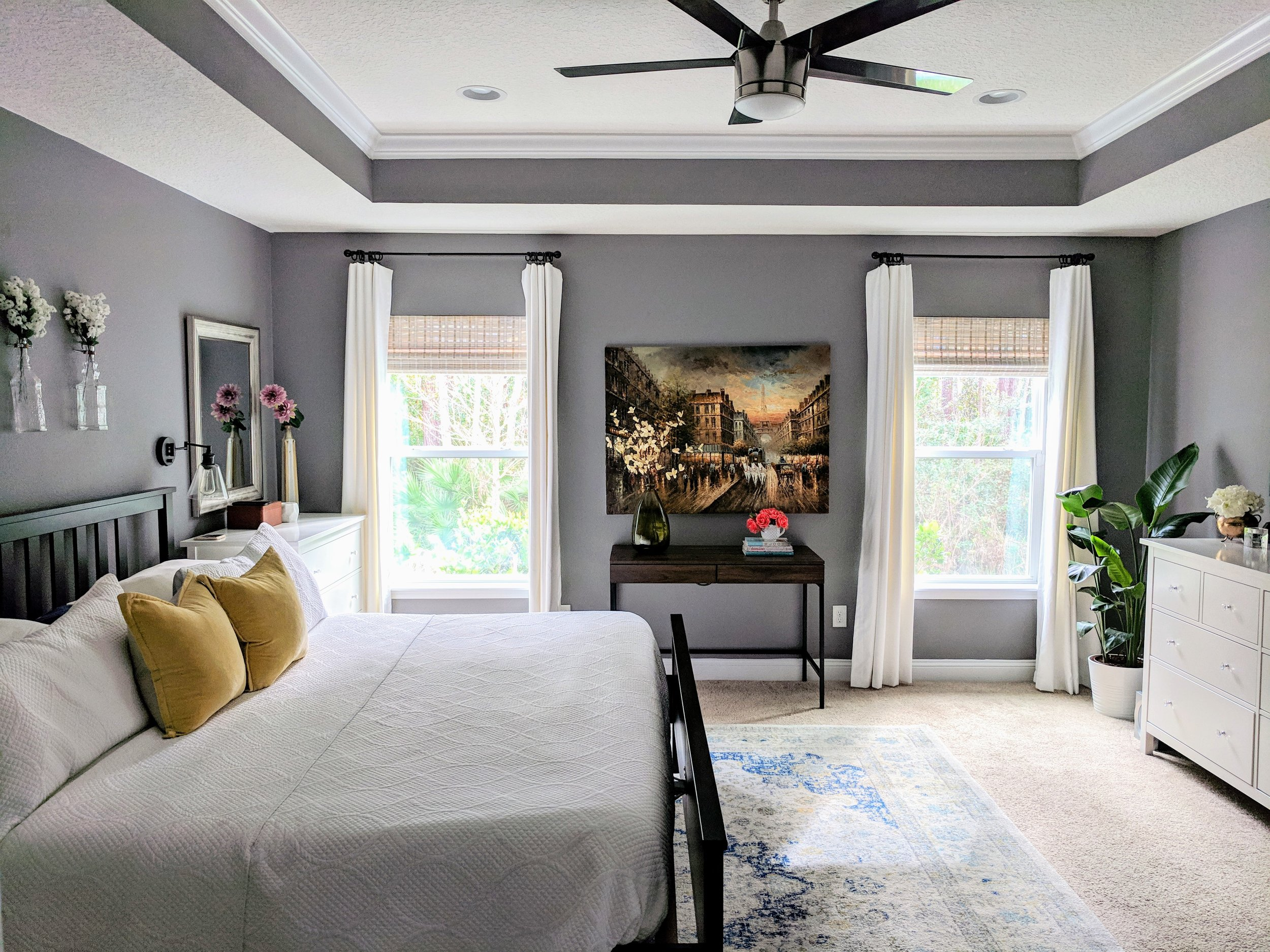 refreshing a master bedroom on a budget