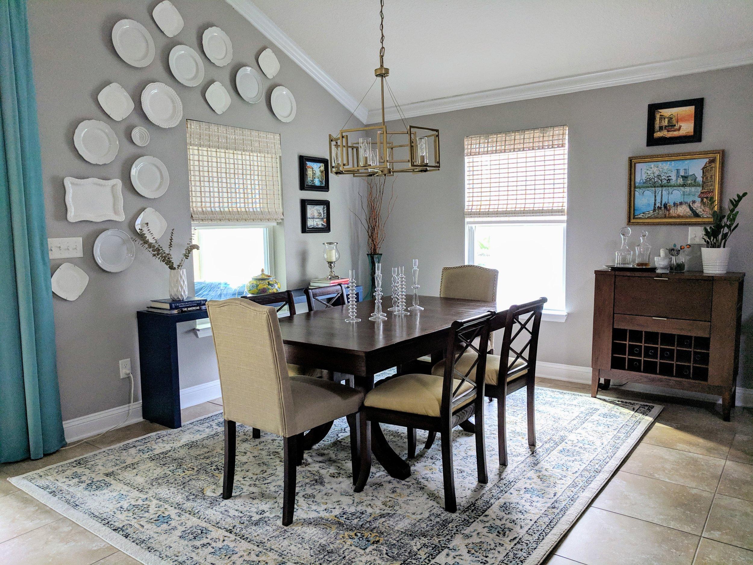 winter decor dining room