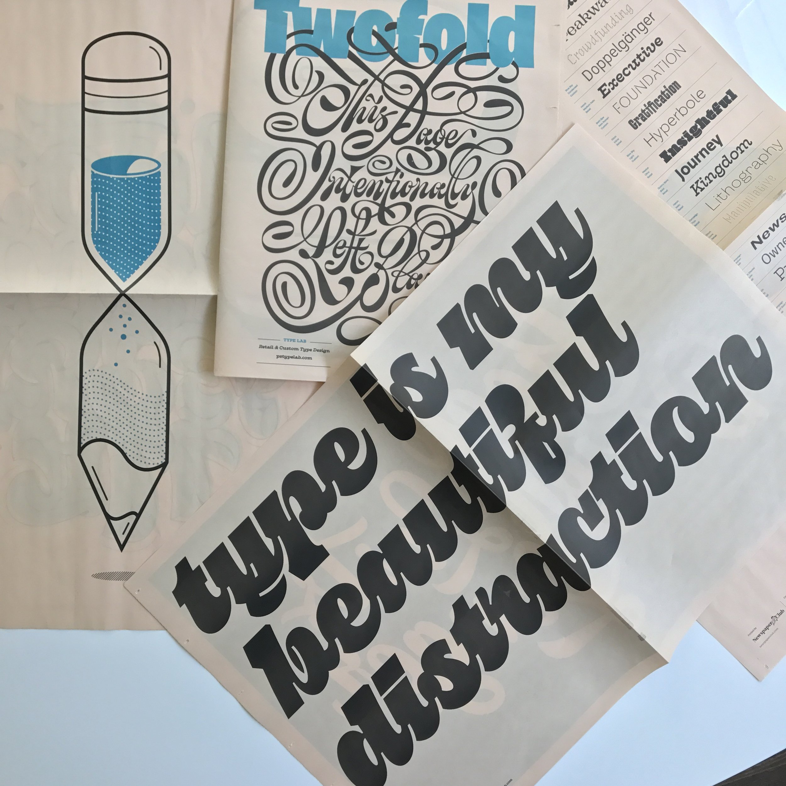 Pika used in Twofold - a type/lettering specimen printed on newspaper