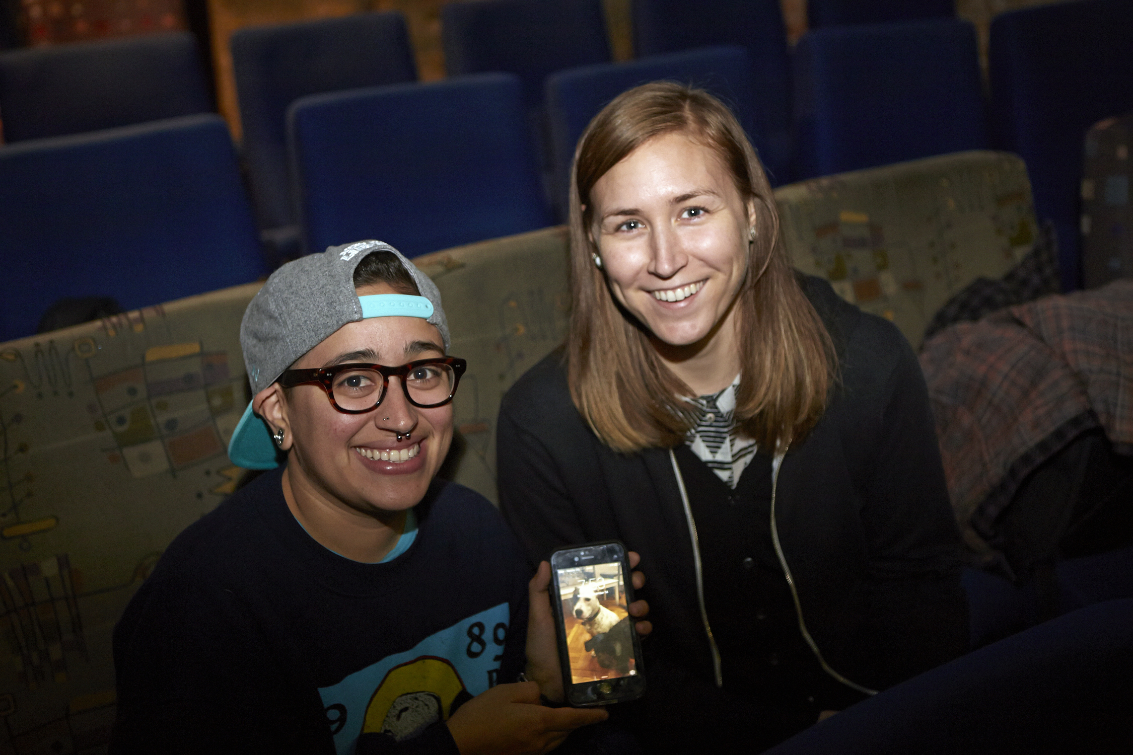 Queer|Art|Mentorship Fellow Mylo Mendez at the December 2015 screening of  Natural Born Killers. (Photo by Eric McNatt)