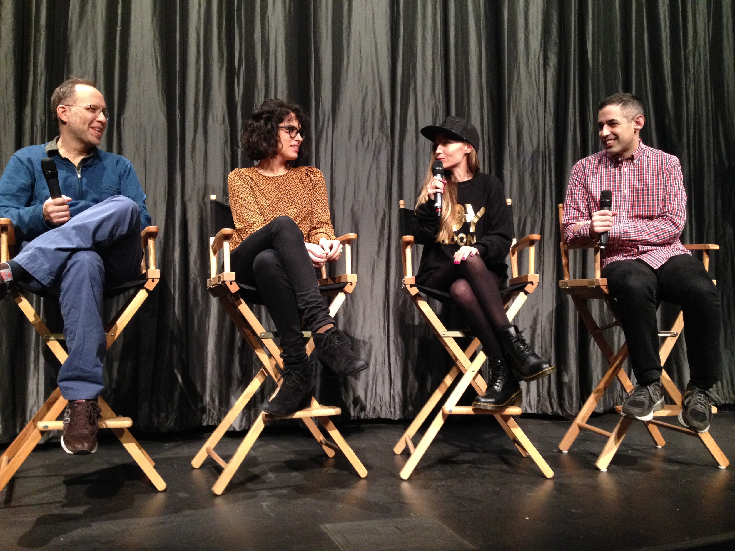 Queer|Art|Film   co-curators Ira Sachs and Adam Baran on stage with presenter Desiree Akhavan and director Marialy Rivas at the 2015 screening of  Young and Wild.  (Photo by Vanessa Haroutunian)