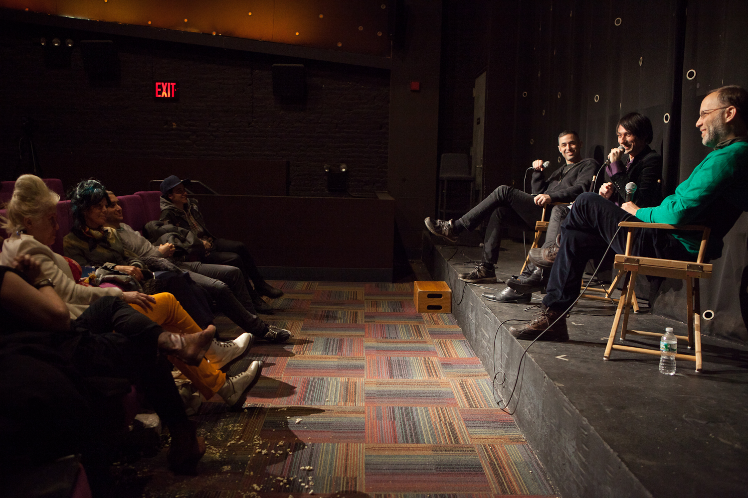 Queer|Art|Film co-curators Adam Baran and Ira Sachs on stage with presenter Joseph Keckler at the March 2015 screening of  Batman Returns . (Photo by Ryan Morris)