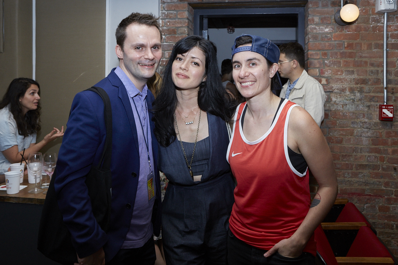Travis Chamberlain, Natalia Leite & Vanessa Haroutunian at M.F.A. Special Screening for Queer|Art|Pride at Wythe Hotel, June 2017. (Photo by Eric McNatt)