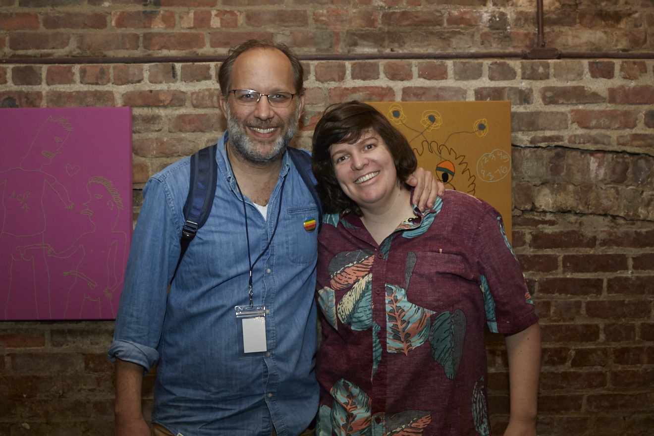 Ira Sachs & CWC at Caroline Wells Chandler Opening Reception for Queer|Art|Pride at Wythe Hotel, June 2017. (Photo by Eric McMatt)
