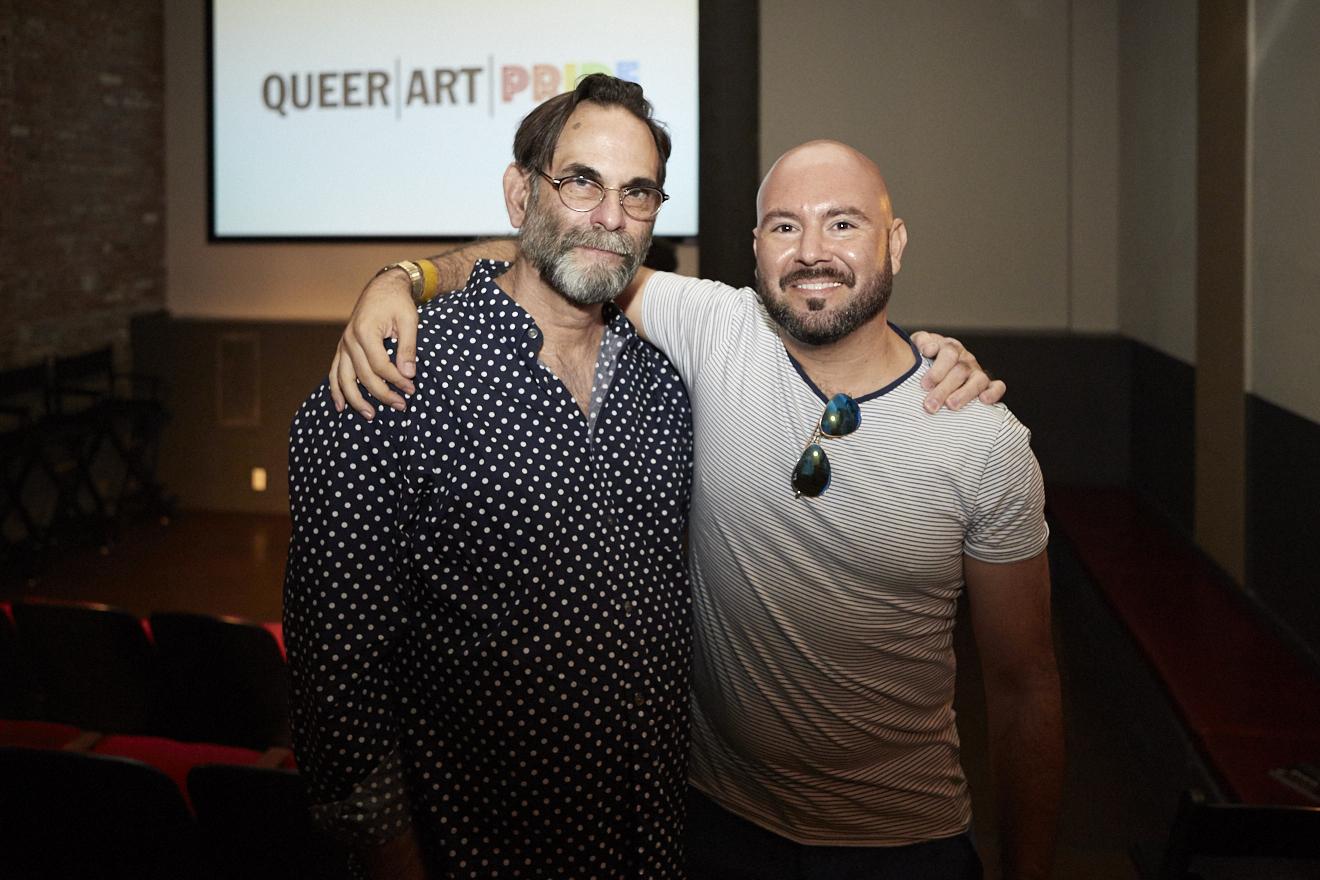 Copy of Avram Finkelstein and Rodrigo Bellott at QAM Alumni Shorts Screening for Queer|Art|Pride at Wythe Hotel, June 2017. (Photo by Eric McNatt)