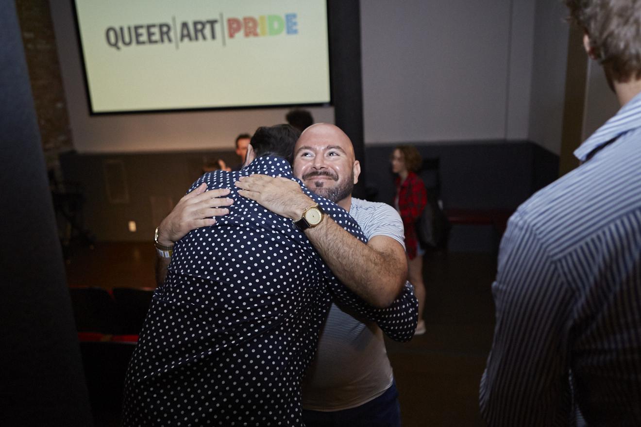 Copy of Avram Finkelstein & Rodrigo Bellott at QAM Alumni Shorts Screening for Queer|Art|Pride at Wythe Hotel, June 2017. (Photo by Eric McNatt)
