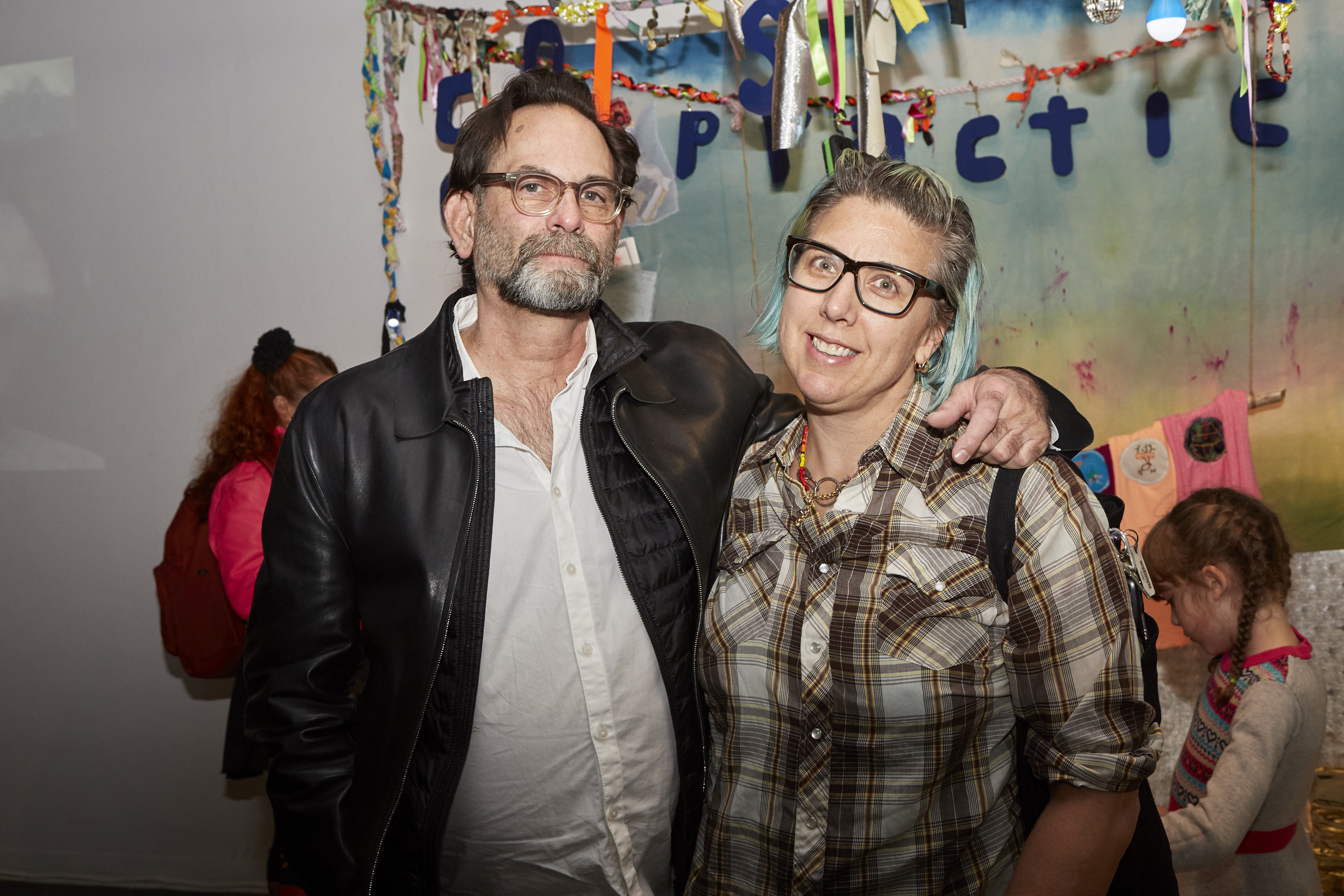 Mentors Avram Finkelstein and Liz Collins at Opening Reception of QAM 2015-2016 Annual Exhibition (Photo by Eric McNatt)