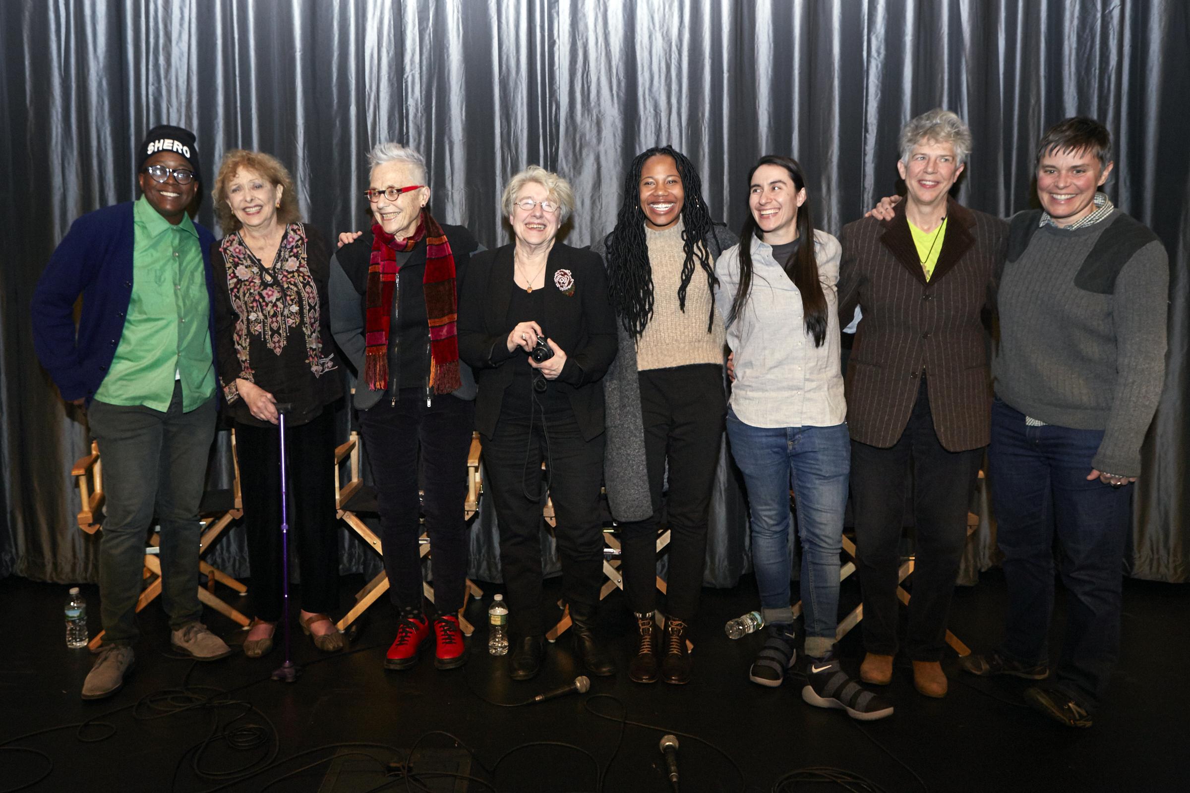 Cheryl Dunye, Carolee Scheenmann, Barbara Hammer, Martha Rosler, Fair Brane, Vanessa Haroutunian, Su Friedrich, and Dani Restack (Photo by Eric McNatt)