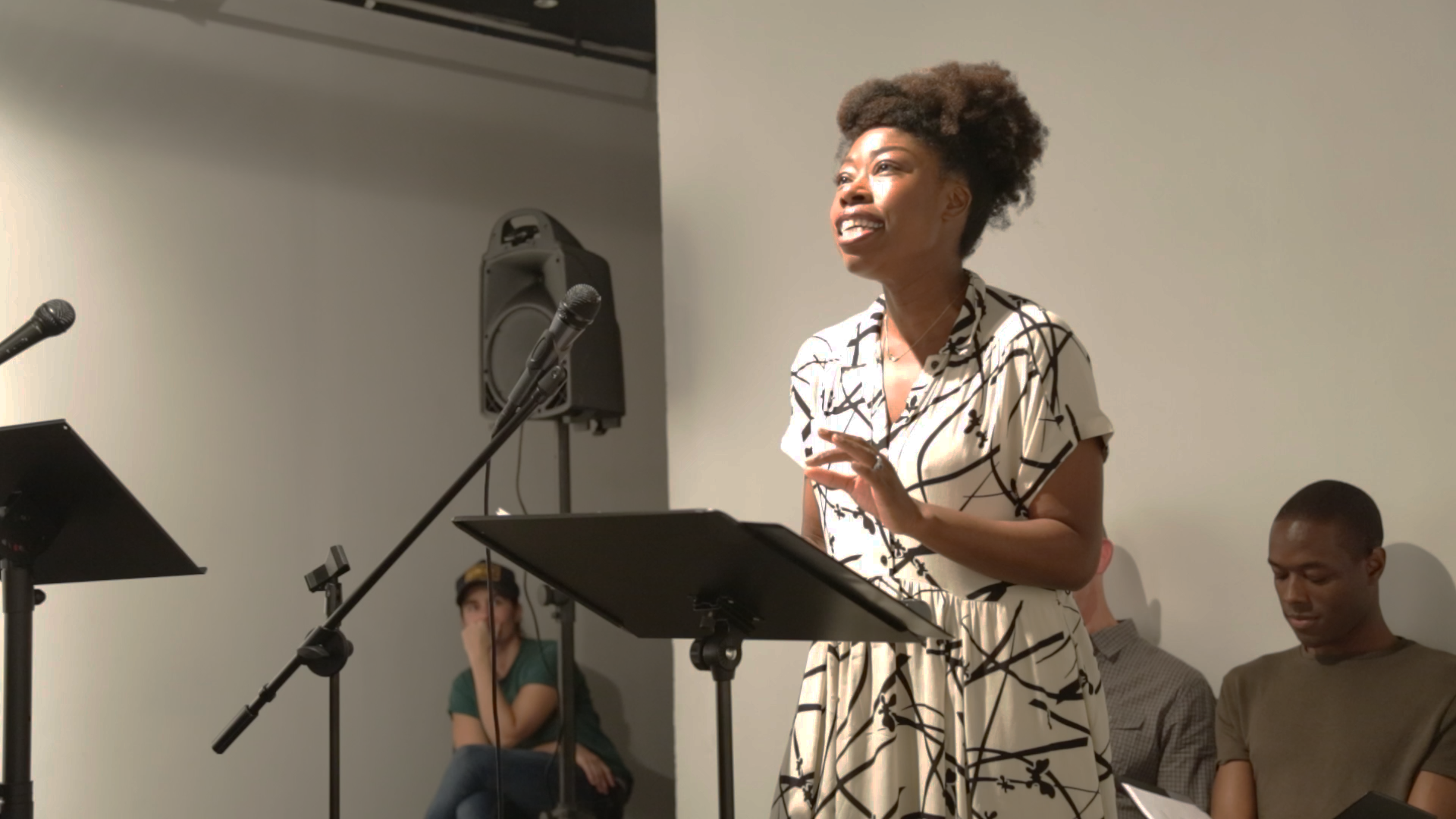 Akyiaa Wilson performing work by Christina Quintana (CQ) at Live Event of QAM 2016-2017 Annual Exhibtion 01 (Photo by Eric McNatt)