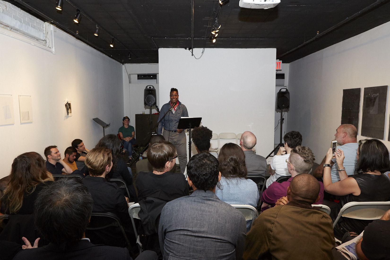 Heather Lynn Johnson Reading at Live Event of QAM 2016-2017 Annual Exhibition 01 (Photo by Eric McNatt)