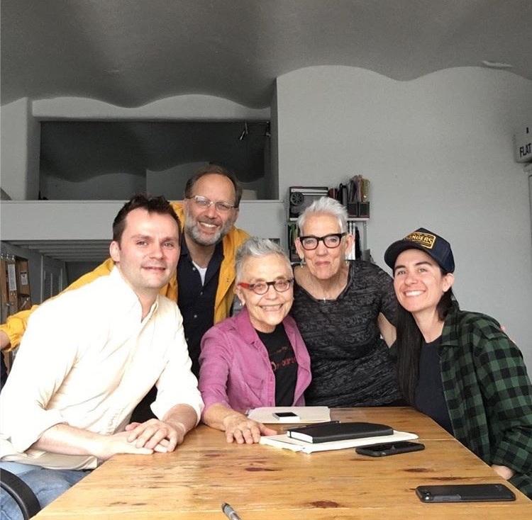 Barbara Hammer & Florrie Burke with QA staff Travis Chamberlain, Ira Sachs, and Vanessa Haroutunian meeting to develop the Barbara Hammer Grant. Vanessa is now Grant Manager to the Hammer Grant (2017)