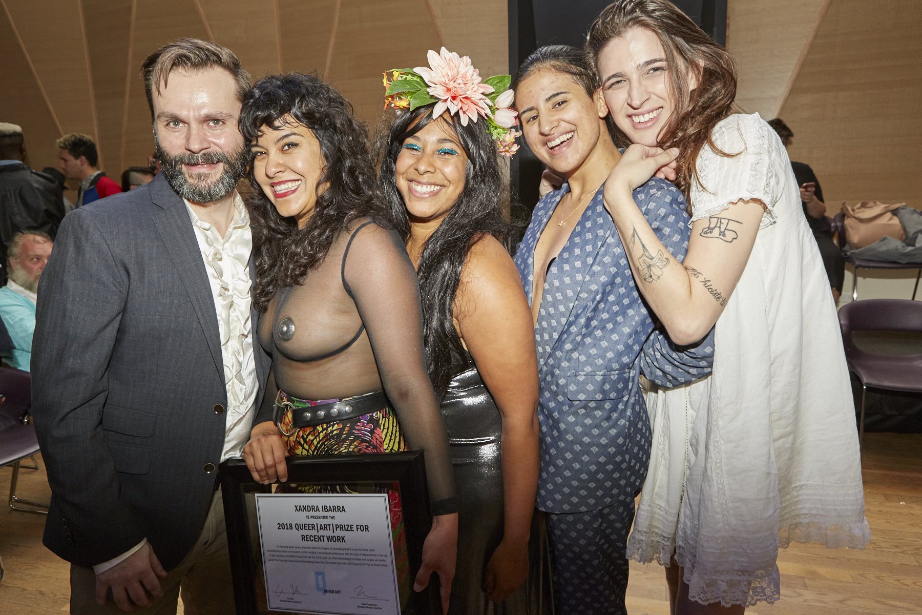 From left: Travis Chamberlain, Xandra Ibarra (2018 Recent Work Winner), Vivian Crockett, KT Pe Benito, and Rio Sofia