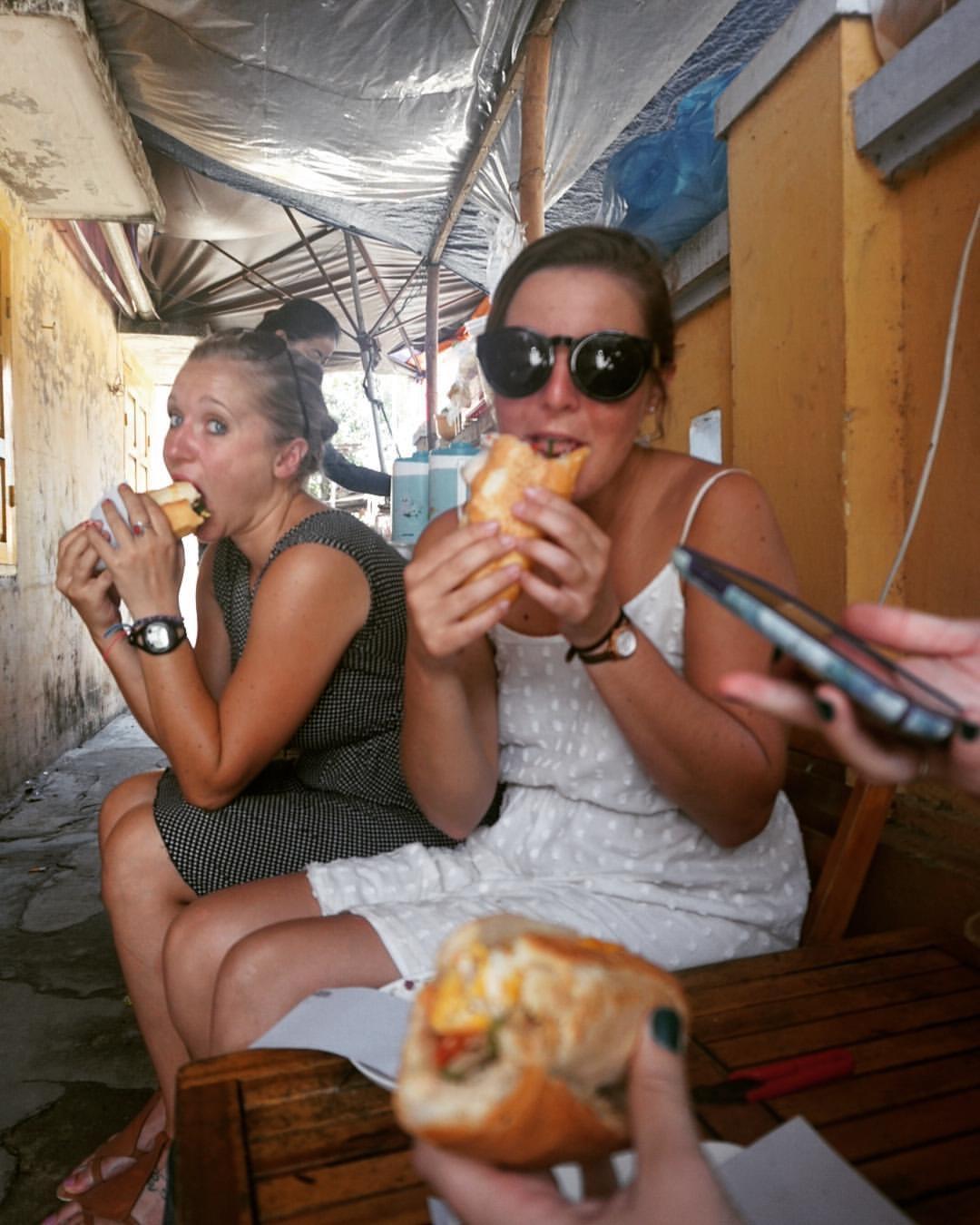 Eating Bahn Mi with my favorite gal, Ally, in Vietnam