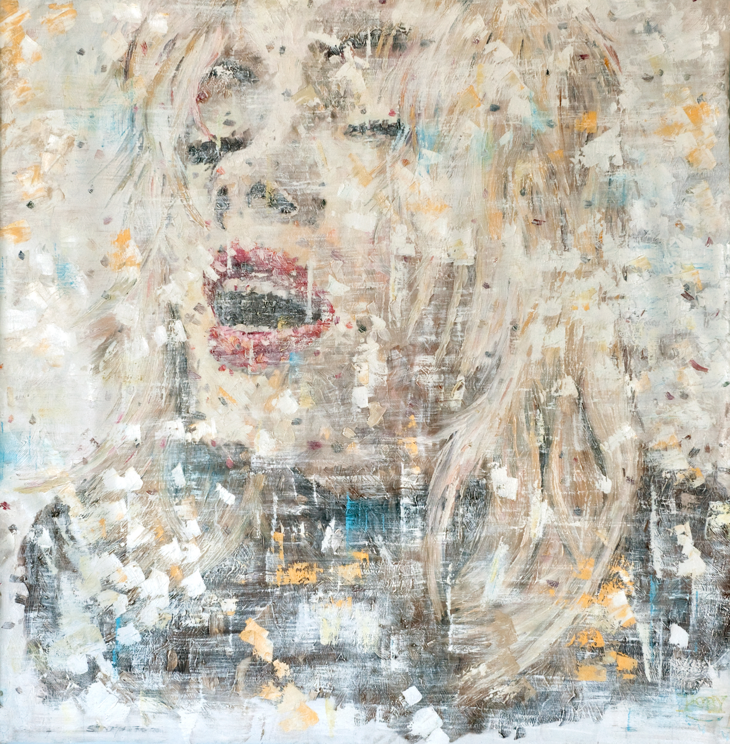 lust no 3    oil on loose canvas 54x 56 inch