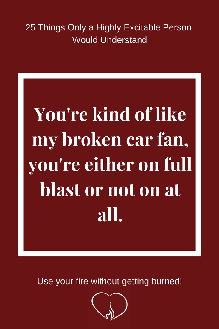 You're kind of like my broken car fan, you're either on full blast or not at all. ~ 25 Things Only a Highly Excitable Person Would Understand