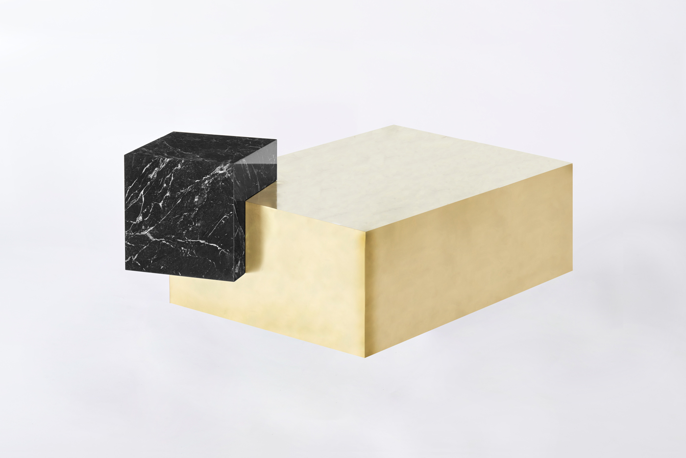 Askew Coffee Table in Brass with Nero Marquina Marble