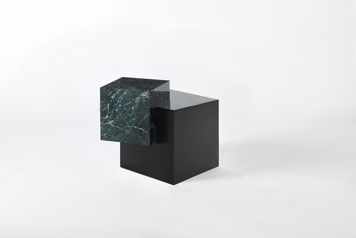 COEXIST ASKEW Empress Green Marble & Black Steel Side Table