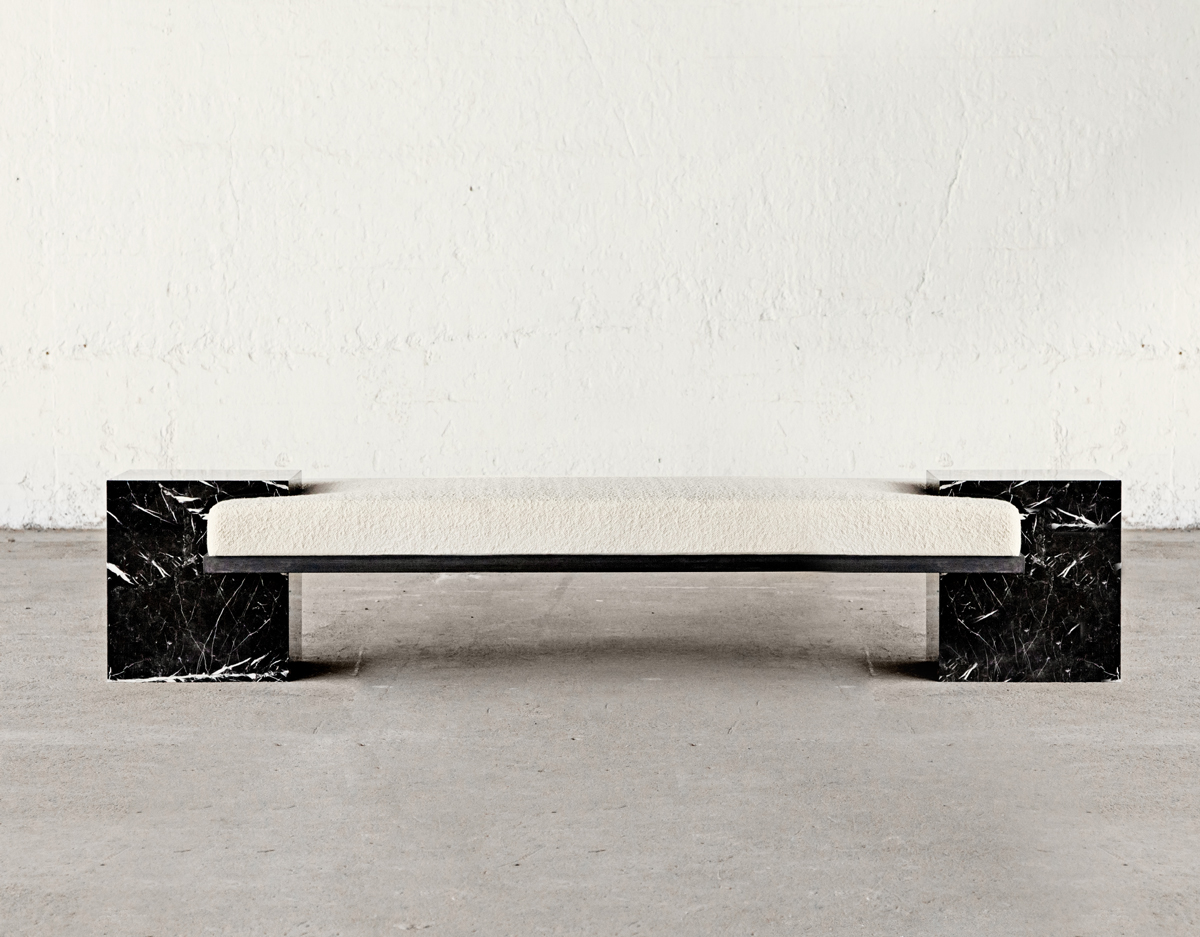 COEXIST Bench in Marble, Steel & Italian Bouclé wool