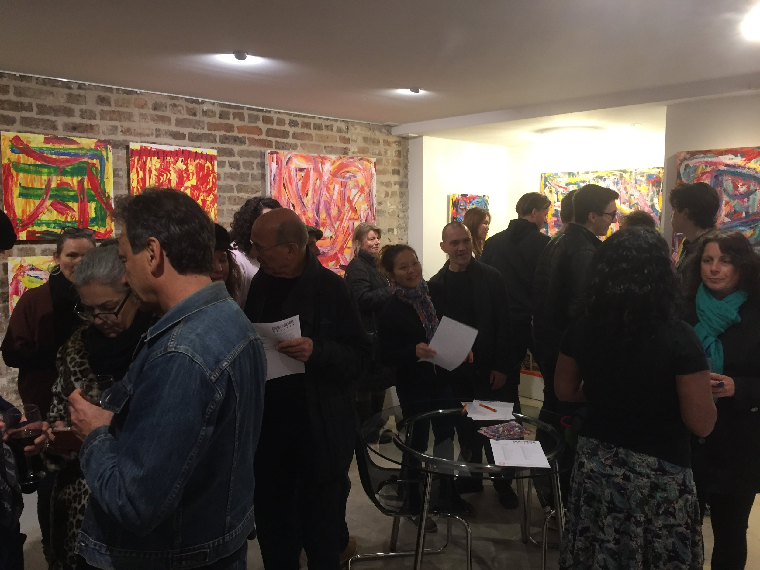 The crowd on opening night of Michael Saker at Disorder Gallery