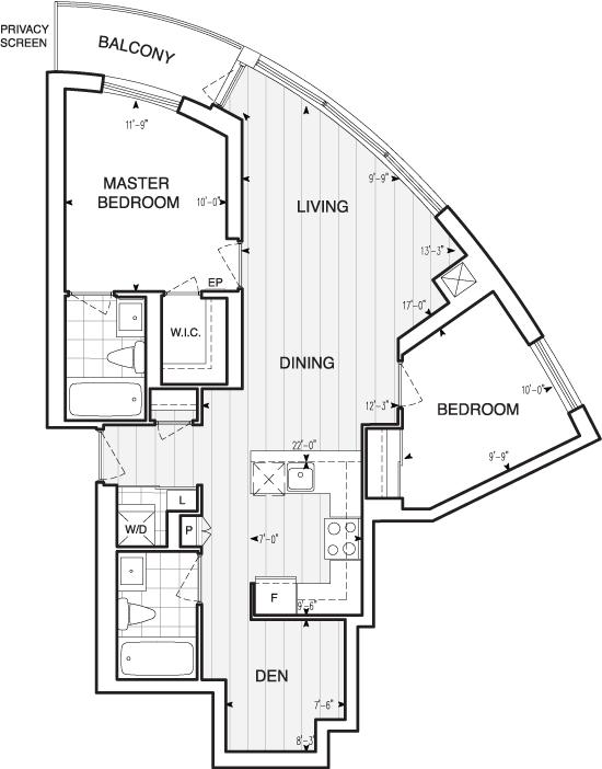 Floorplan of 125 Village Green Square #3310