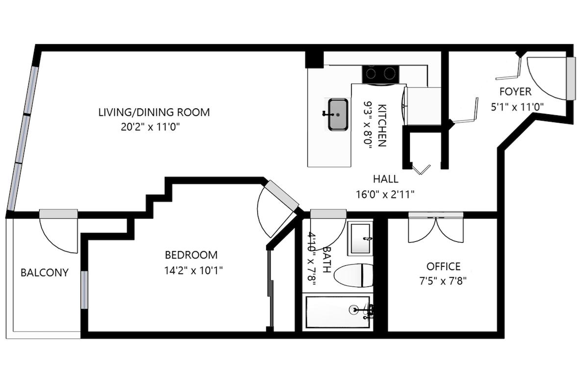 Floorplan of 373 Front Street West #2612