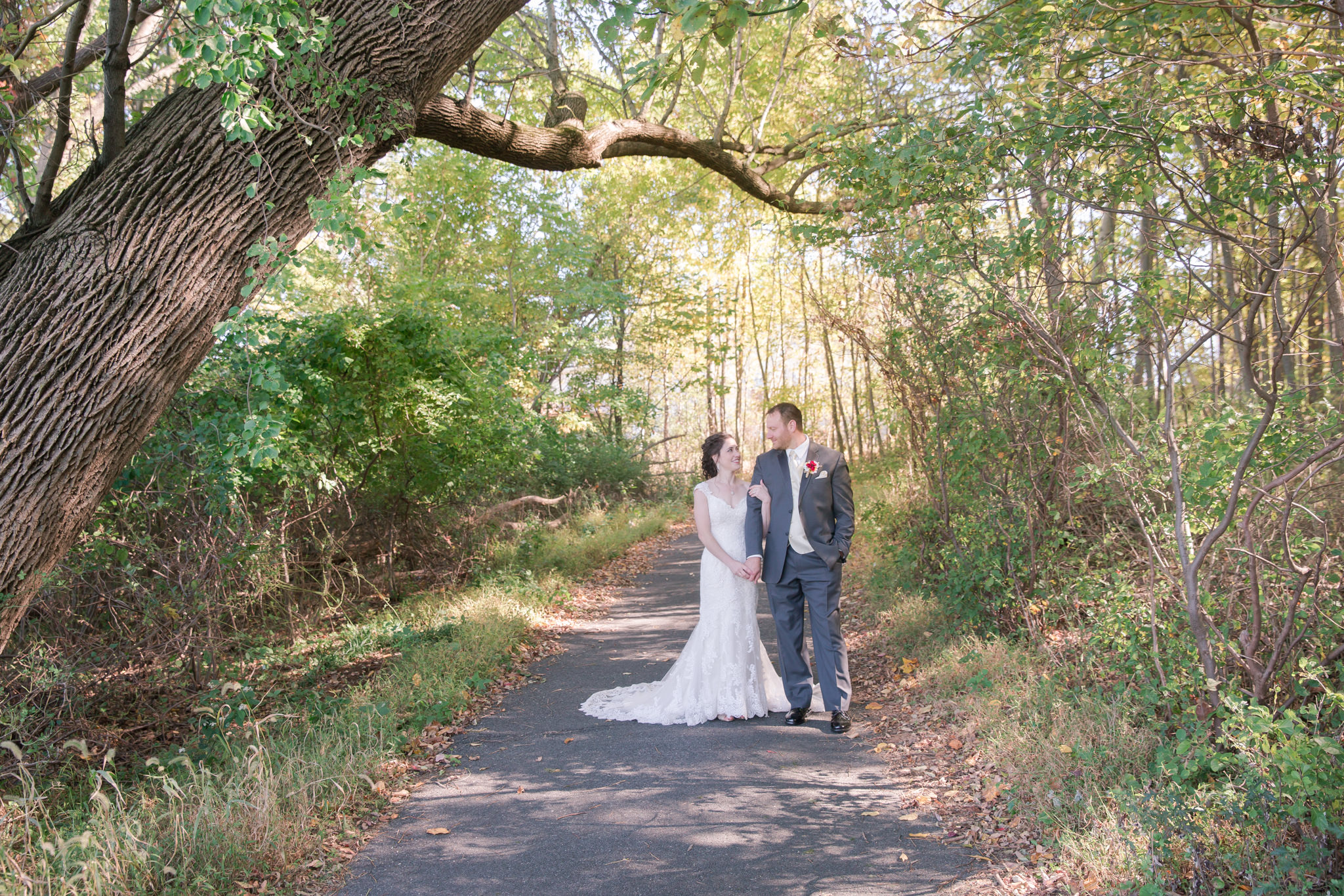 I love when venues take you around to different spots. Then when they leave you, you find your own little wonderland. The light through these trees is amazing. Of course Jaclyn & Mark were beautiful as well!