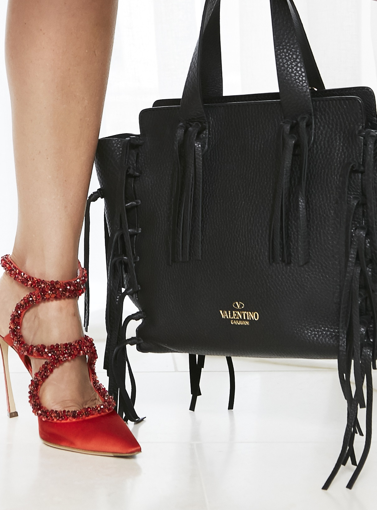 Sergio Rossi Beaded Silk Sling Back and Valentino Fringe Tote