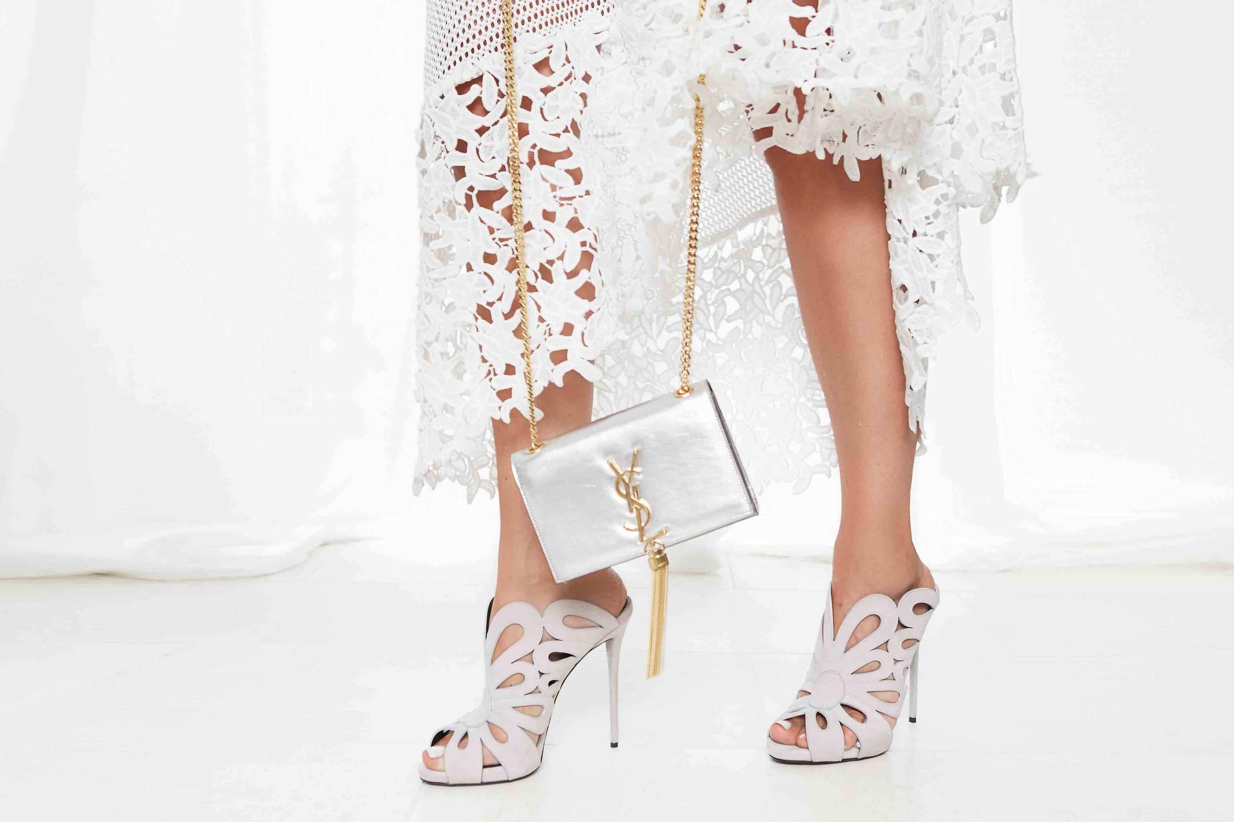 Seagulls of St Kilda Lace Dress with Balenciaga Cut Out Mule and Saint Laurent Mini Chain Tassel Bag
