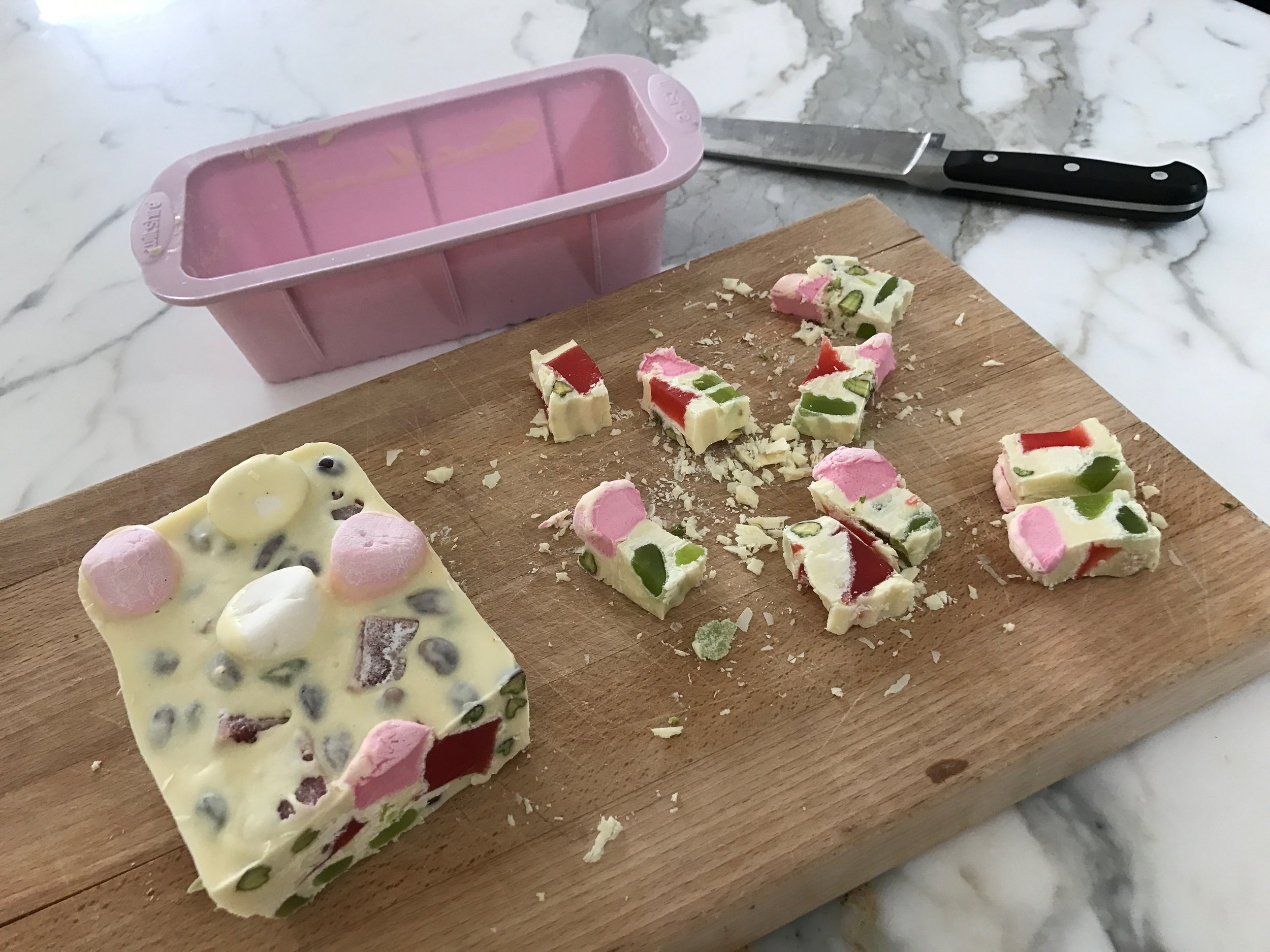 Silicone bakeware pink mould tin.