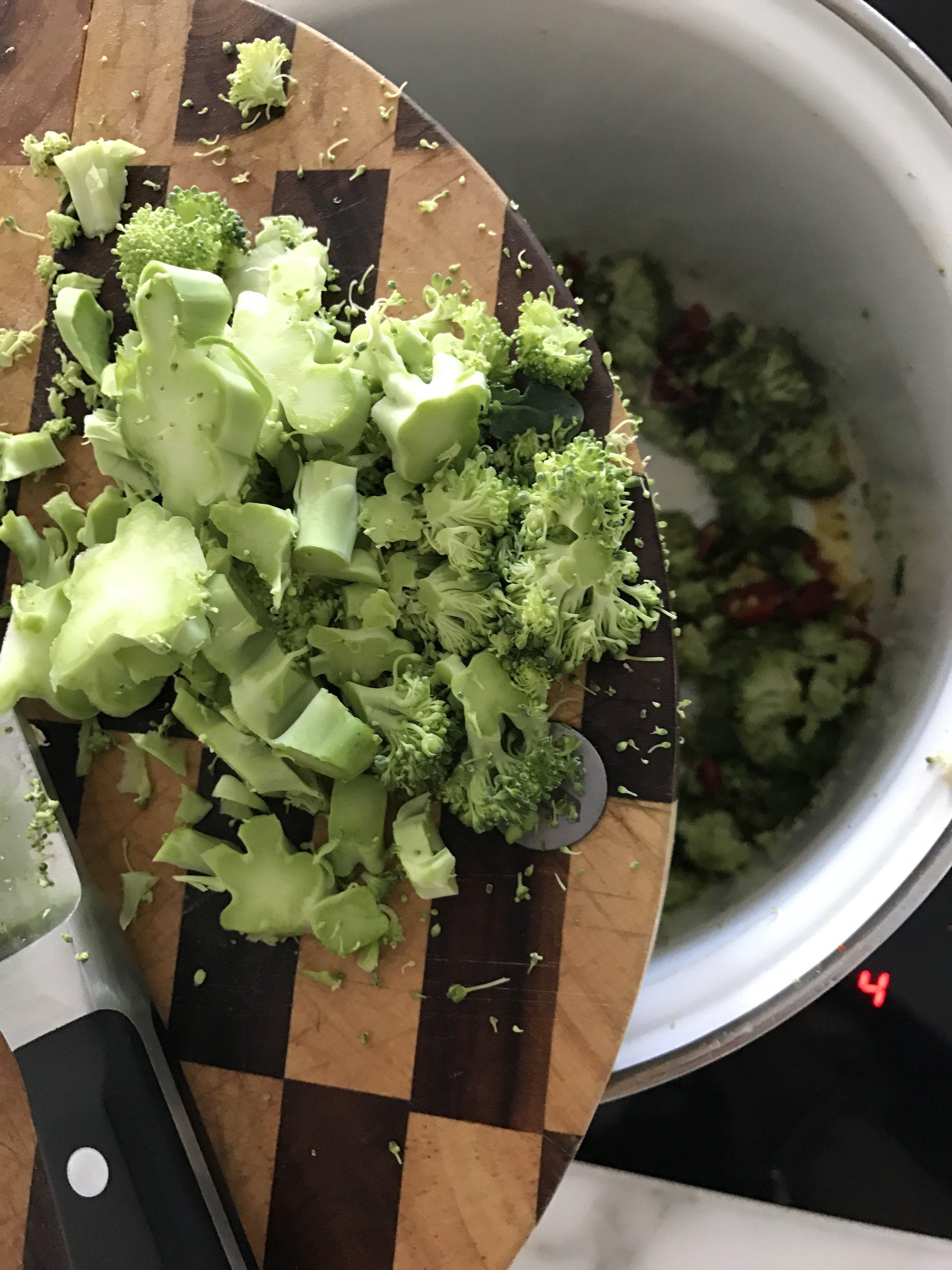 Chop up the broccoli