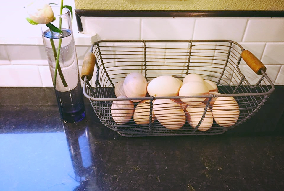 Fresh eggs from our backyard chickens.